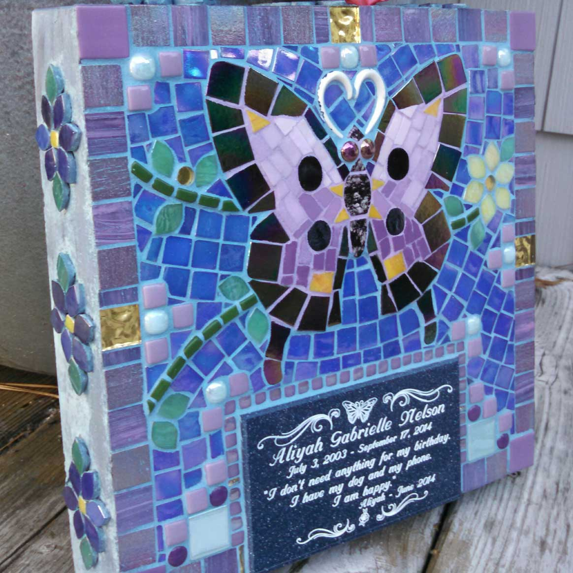 Mosaic Memorial Garden Art Stone of Aliyah's Purple Butterfly by Water's End Studio Artist Linda Solby