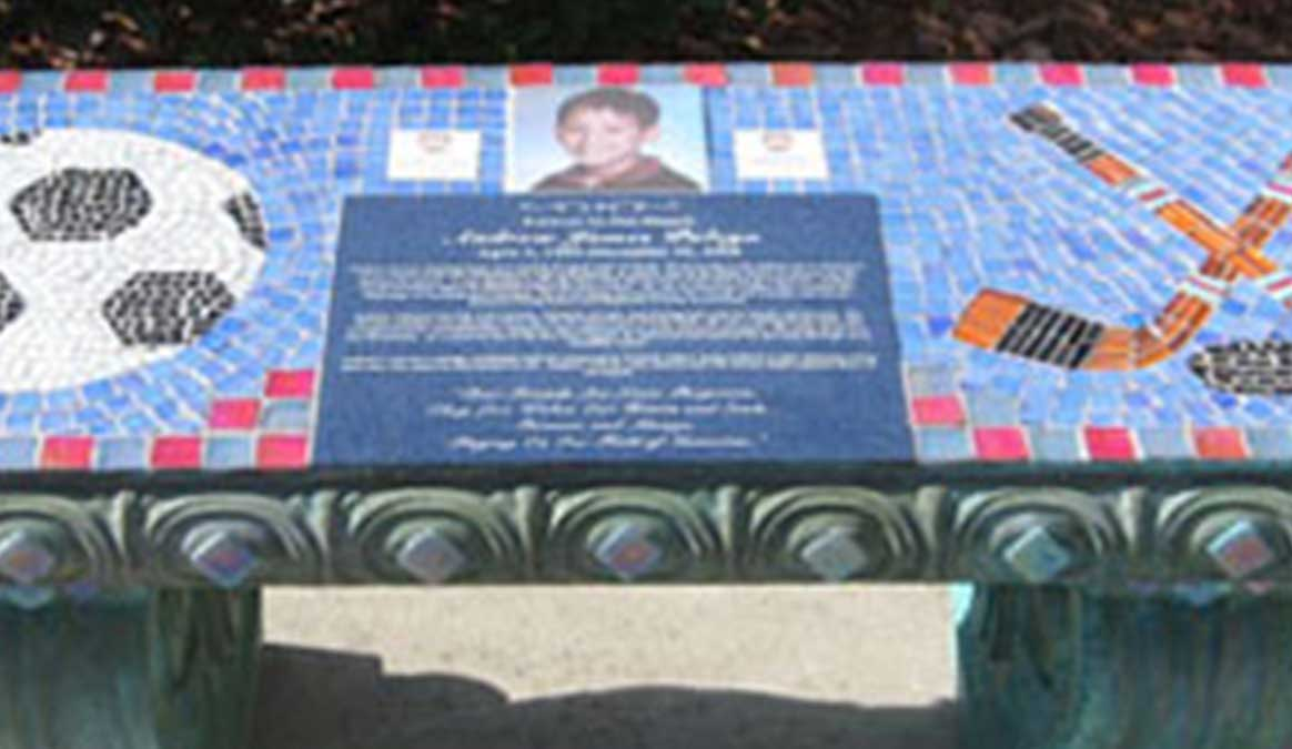 Mosaic Memorial Garden Bench with Portrait Tiles of Andrew's Soccer and Hockey Closeup by Water's End Studio Artist Linda Solby