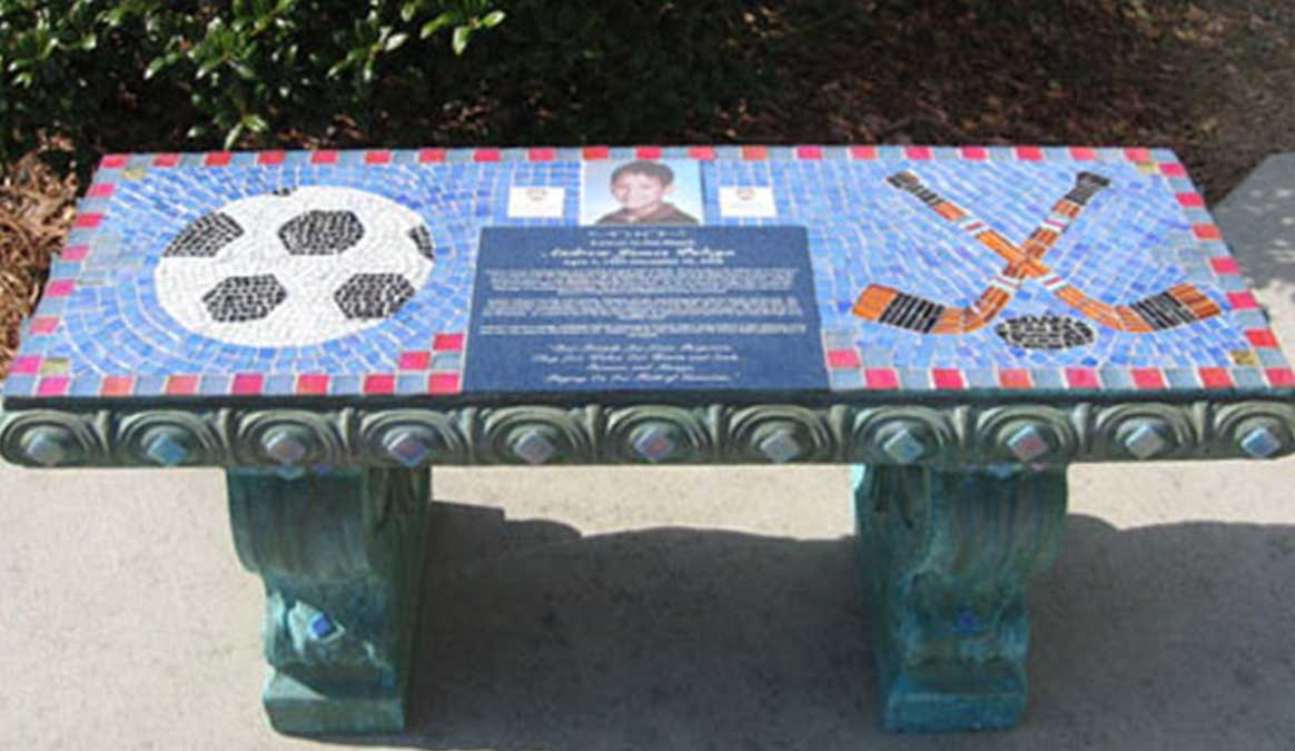 Mosaic Memorial Garden Bench with Portrait Tiles of Andrew's Soccer and Hockey by Water's End Studio Artist Linda Solby