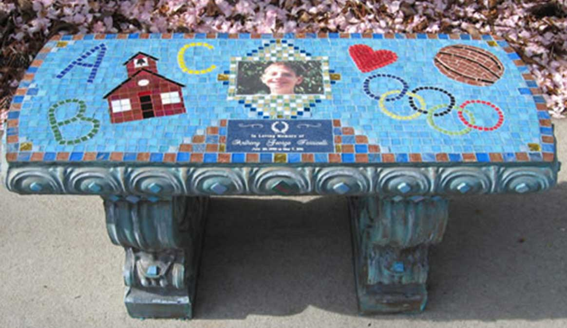 Mosaic Memorial Garden Bench with Portrait Tiles of Anthony's School, Ball and Symbols by Water's End Studio Artist Linda Solby