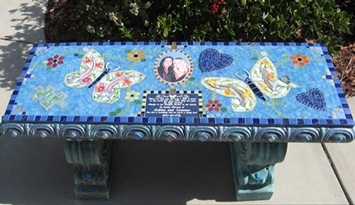 Mosaic Memorial Garden Bench with Portrait Tiles of Ashlea's and Summer's Butterflies by Water's End Studio Artist Linda Solby
