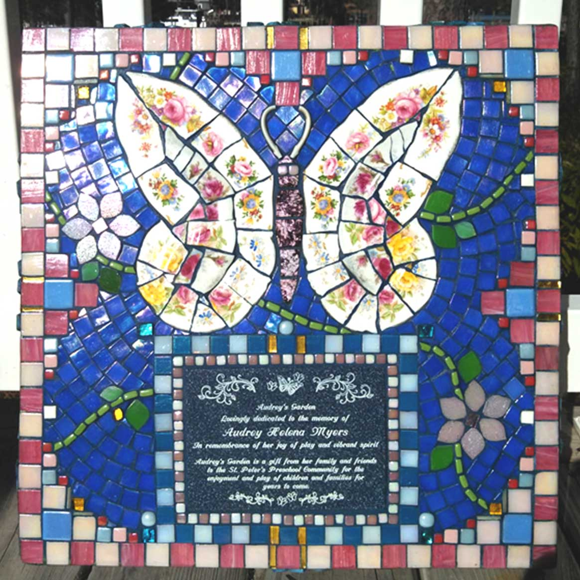 Mosaic Memorial Garden Art Stone of Audrey's Butterfly by Water's End Studio Artist Linda Solby