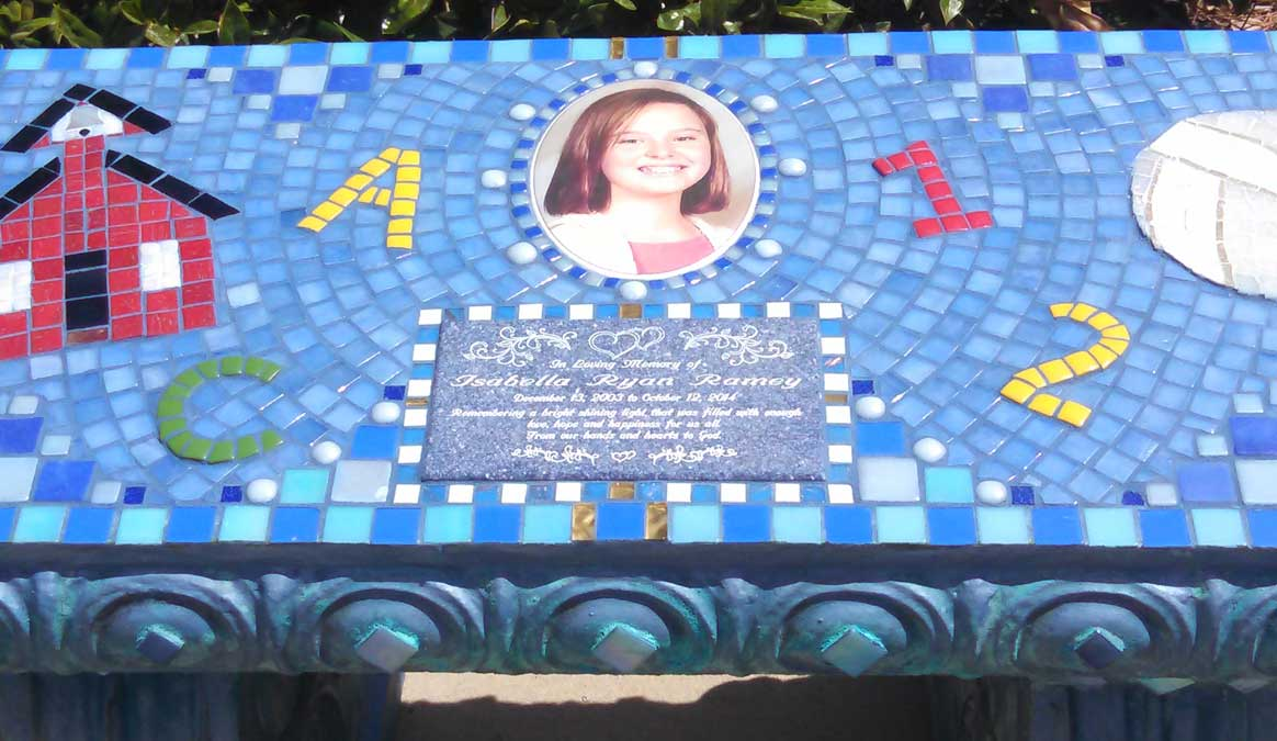 Mosaic Memorial Garden Bench with Portrait Tiles of Bella's School, Numbers, and Volley Ball Closeup by Water's End Studio Artist Linda Solby