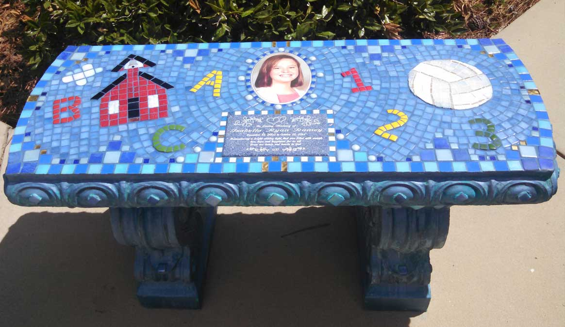 Mosaic Memorial Garden Bench with Portrait Tiles of Bella's School, Numbers, and Volley Ball by Water's End Studio Artist Linda Solby