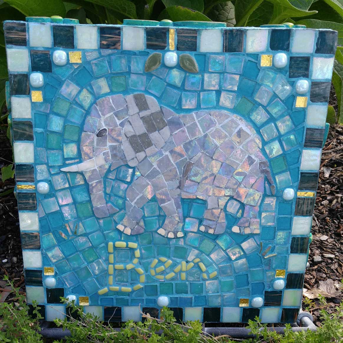 Mosaic Memorial Garden Art Stone of Ben's Elephant by Water's End Studio Artist Linda Solby