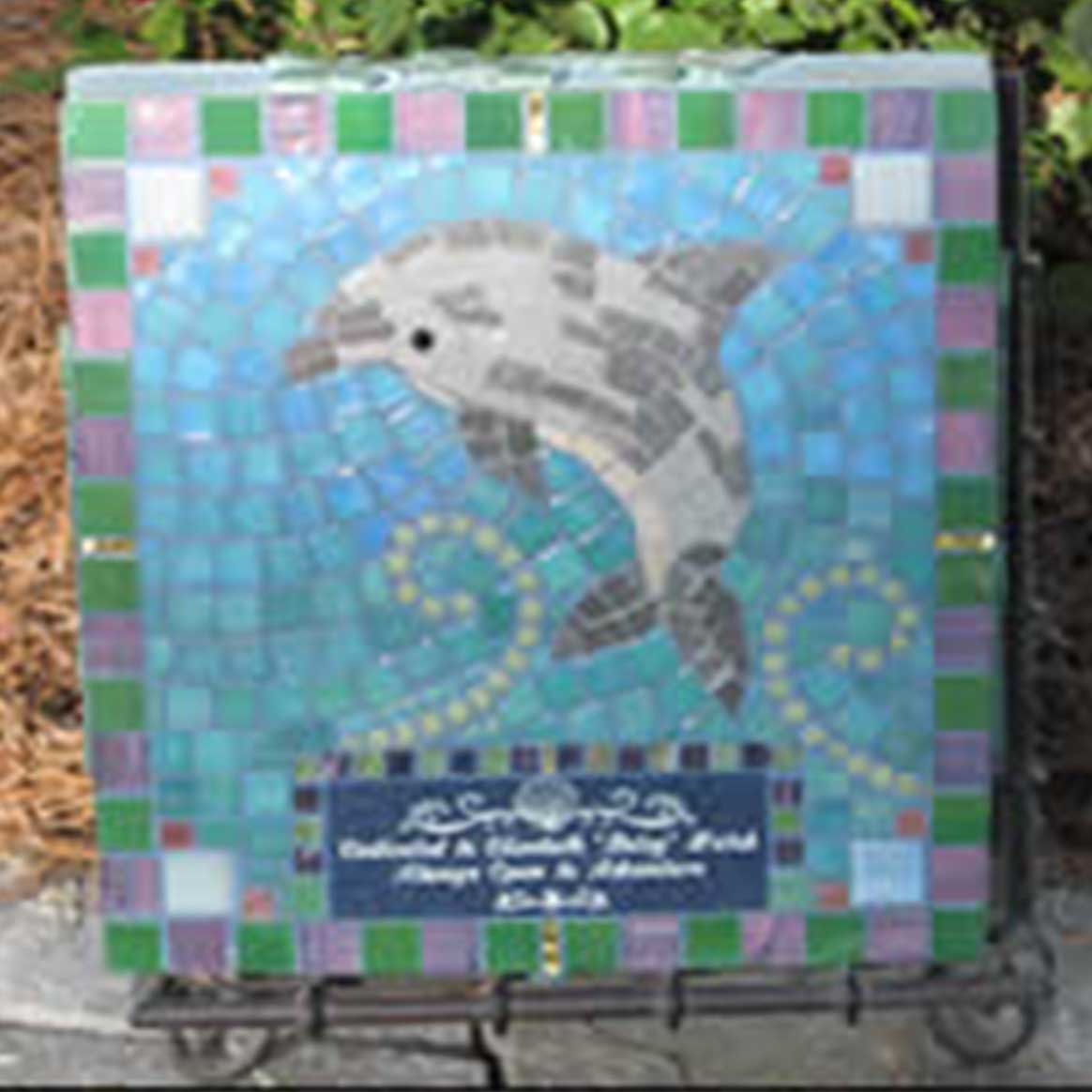 Mosaic Memorial Garden Art Stone of Betsy's Dolphin by Water's End Studio Artist Linda Solby