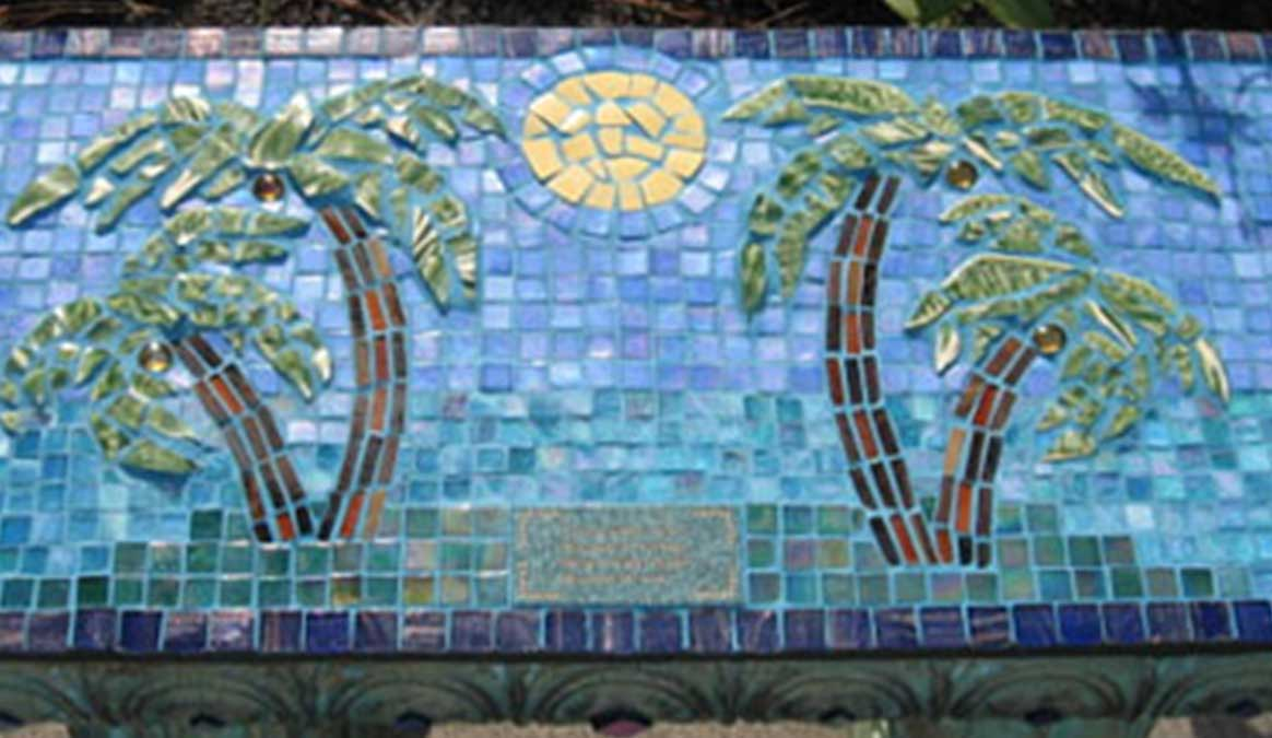 Mosaic Memorial Garden Bench of Bob's Palm Trees Closeup by Water's End Studio Artist Linda Solby