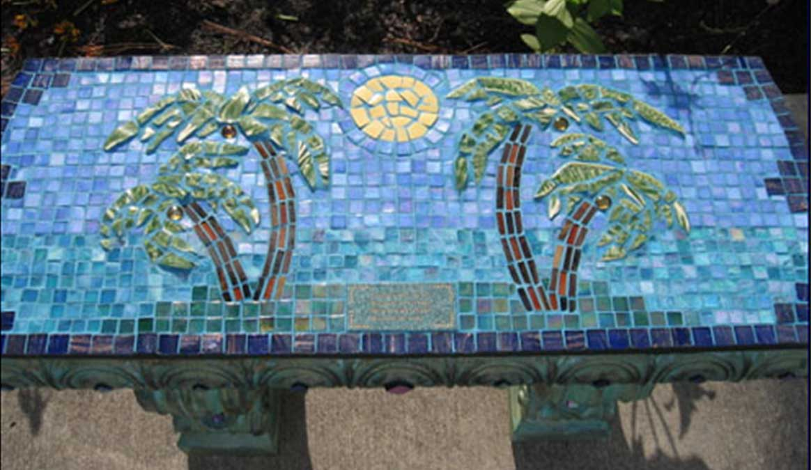 Mosaic Memorial Garden Bench of Bob's Palm Trees by Water's End Studio Artist Linda Solby