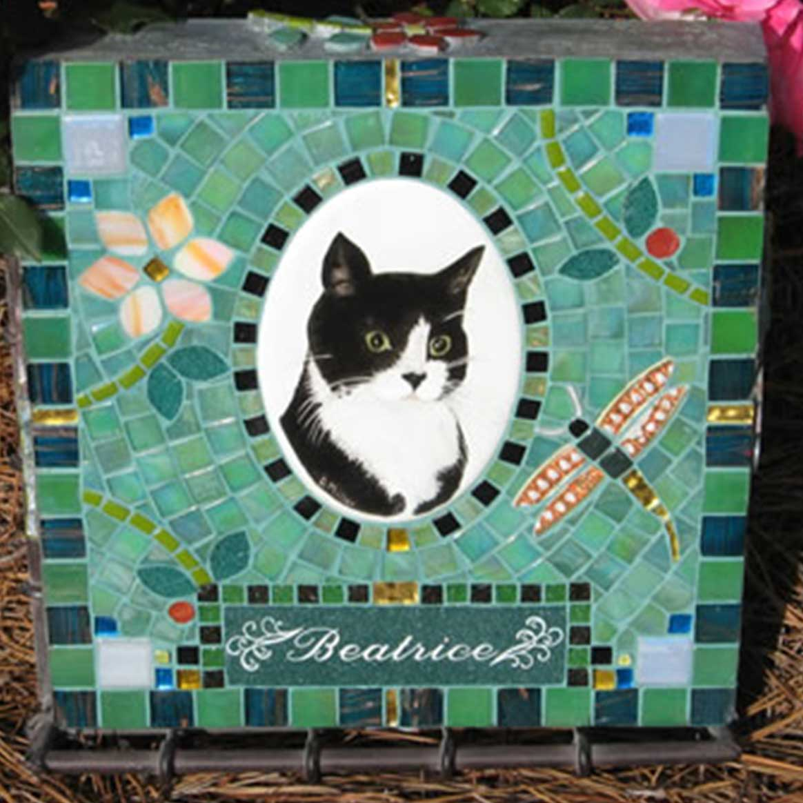 Mosaic Pet Portrait Memorial Stone of Cat Beatrice's Dragonfly by Water's End Studio Artist Linda Solby