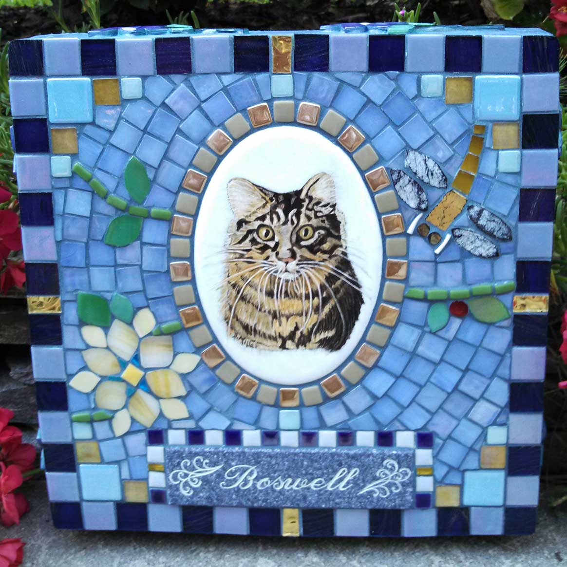 Mosaic Pet Portrait Memorial Stone of Cat Boswell's Dragonfly by Water's End Studio Artist Linda Solby