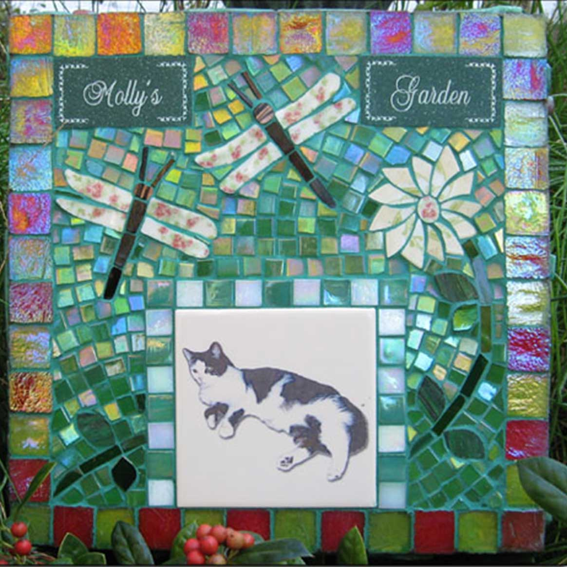 Mosaic Pet Portrait Memorial Stone of Cat Molly's Garden by Water's End Studio Artist Linda Solby
