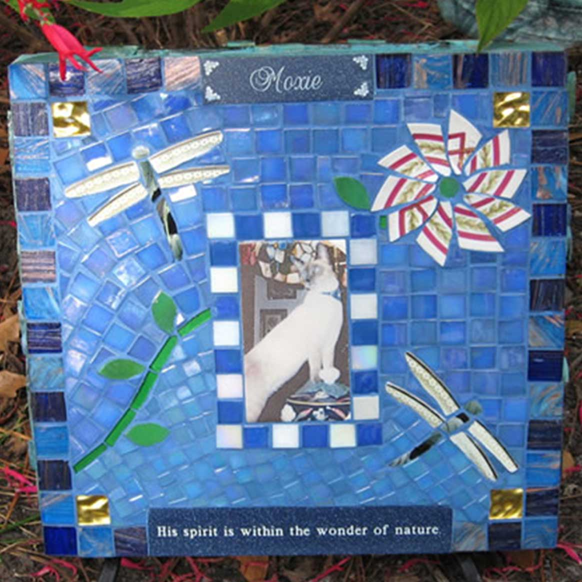 Mosaic Pet Portrait Memorial Stone of Cat Moxie's Dragonflies by Water's End Studio Artist Linda Solby