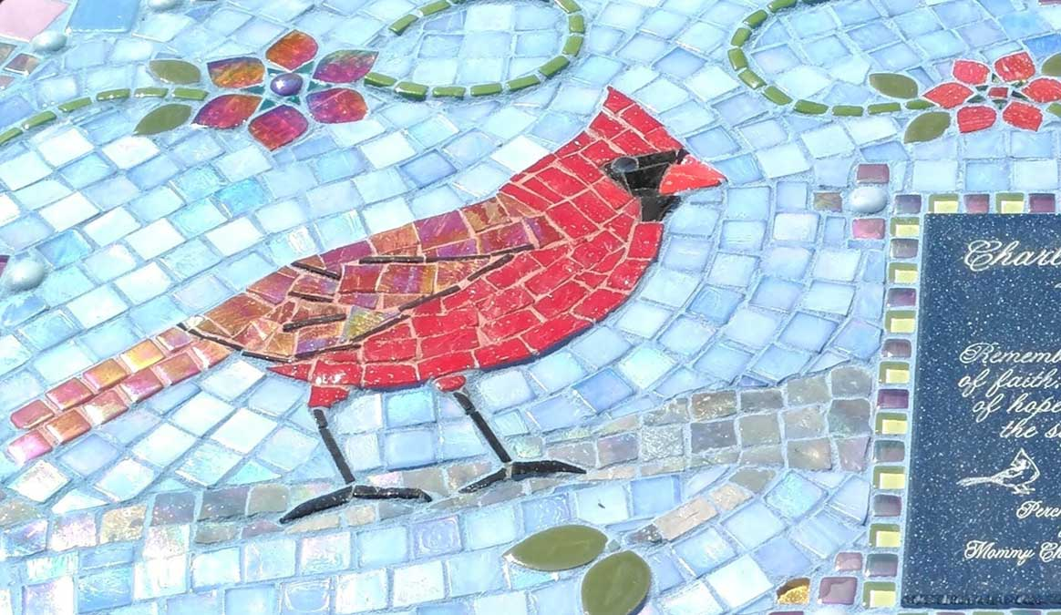 Mosaic Memorial Garden Bench of Charlotte's Cardinal Closeup by Water's End Studio Artist Linda Solby