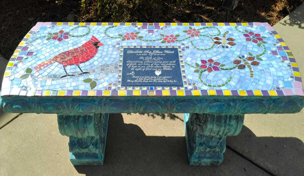 Mosaic Memorial Garden Bench of Charlotte's Cardinal by Water's End Studio Artist Linda Solby