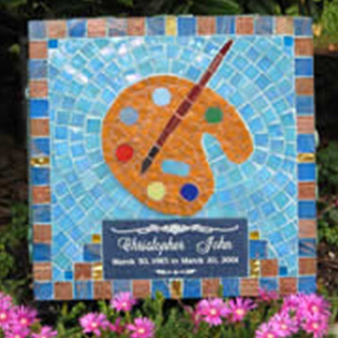 Mosaic Memorial Garden Art Stone of Christopher's Art by Water's End Studio Artist Linda Solby
