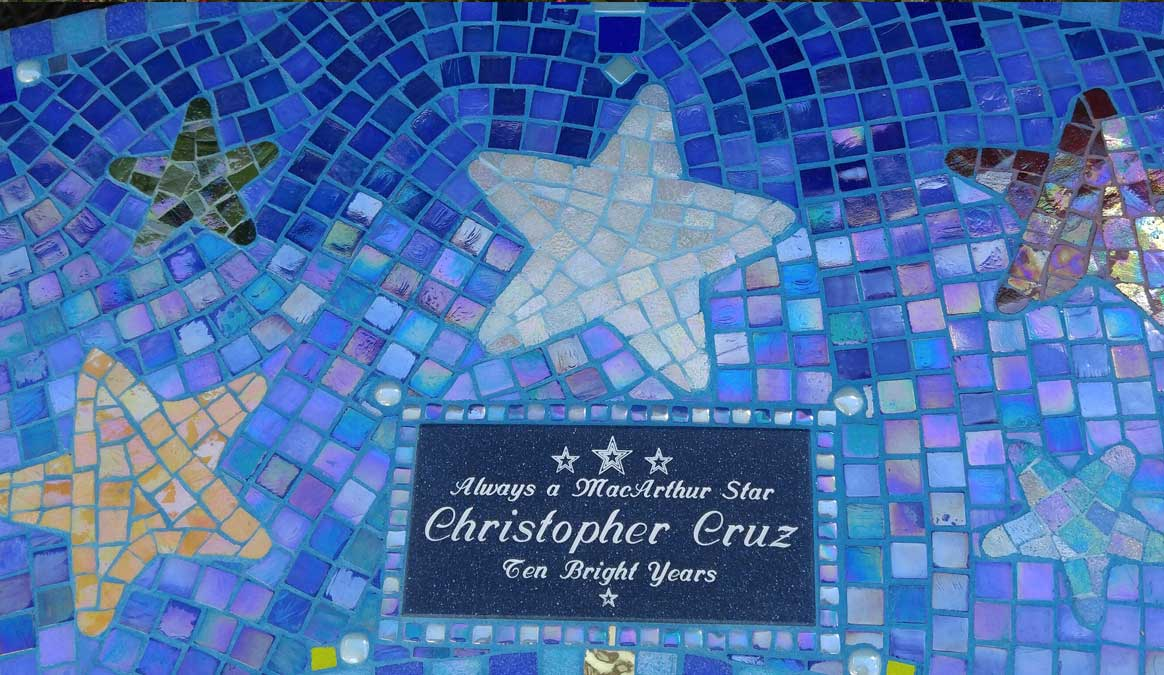Mosaic Memorial Garden Bench of Christopher's Stars Closeup by Water's End Studio Artist Linda Solby