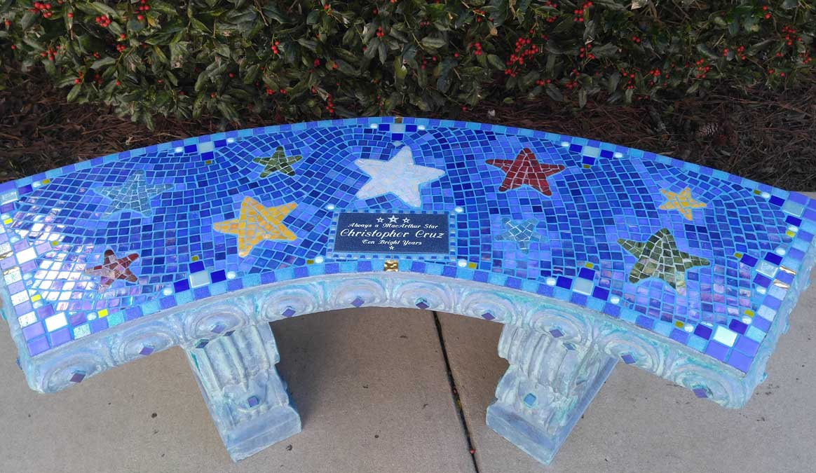 Mosaic Memorial Garden Bench of Christopher's Stars by Water's End Studio Artist Linda Solby