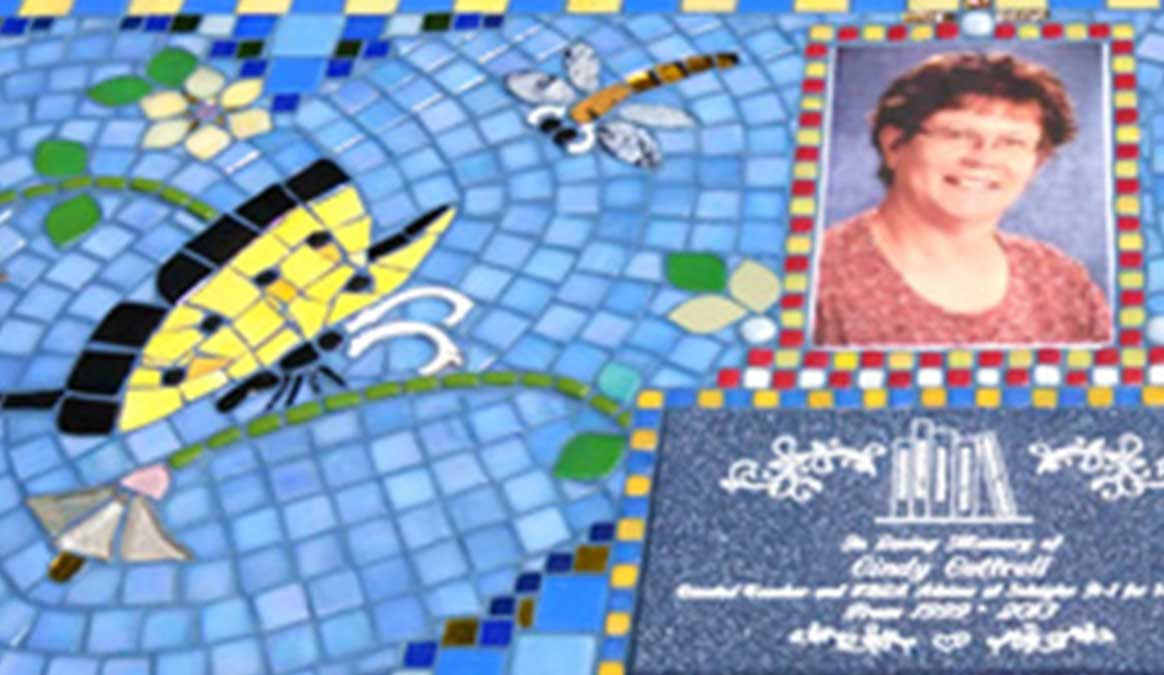 Mosaic Memorial Garden Bench of Cindy's Yellow Butterflies Closeup by Water's End Studio Artist Linda Solby