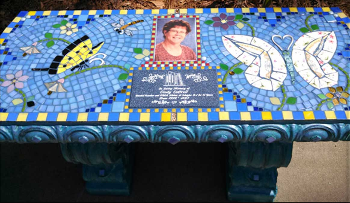 Mosaic Memorial Garden Bench of Cindy's Yellow Butterflies by Water's End Studio Artist Linda Solby