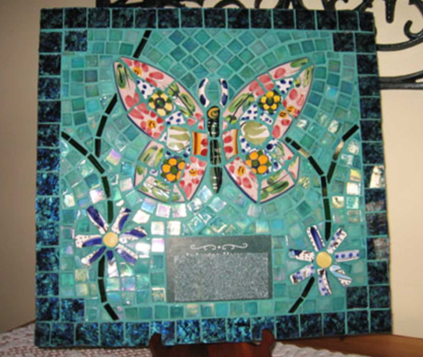 Mosaic Memorial Picture Plaque of a Colorful Butterfly by Water's End Studio Artist Linda Solby