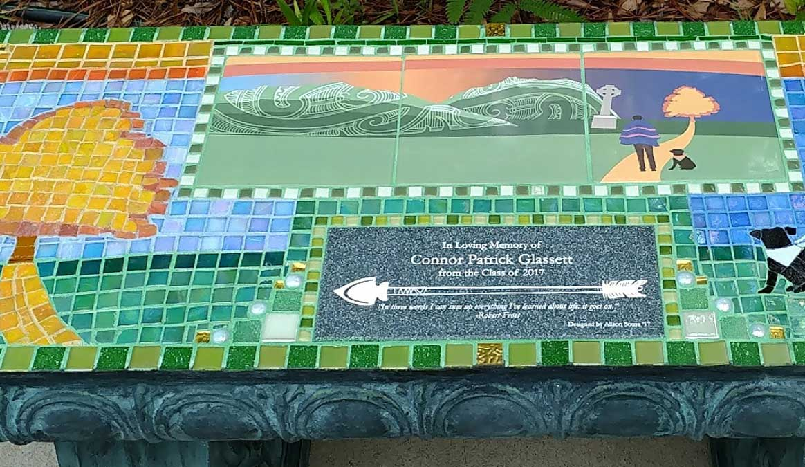Mosaic Memorial Garden Bench of Conner's Memorial Closeup by Water's End Studio Artist Linda Solby