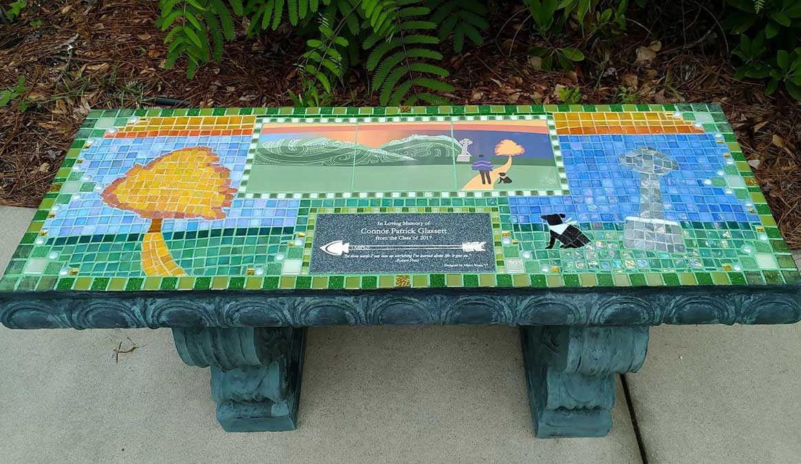 Mosaic Memorial Garden Bench of Conner's Memorial by Water's End Studio Artist Linda Solby
