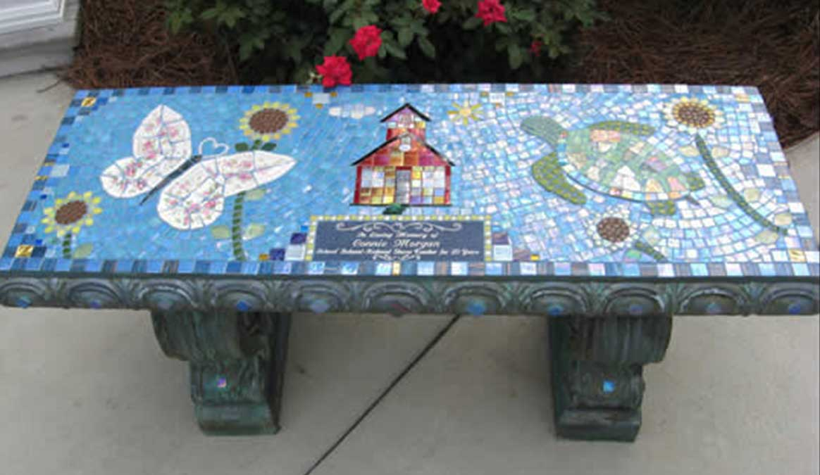 Mosaic Memorial Garden Bench of Connie's Favorite Things Turtle and Butterfly by Water's End Studio Artist Linda Solby