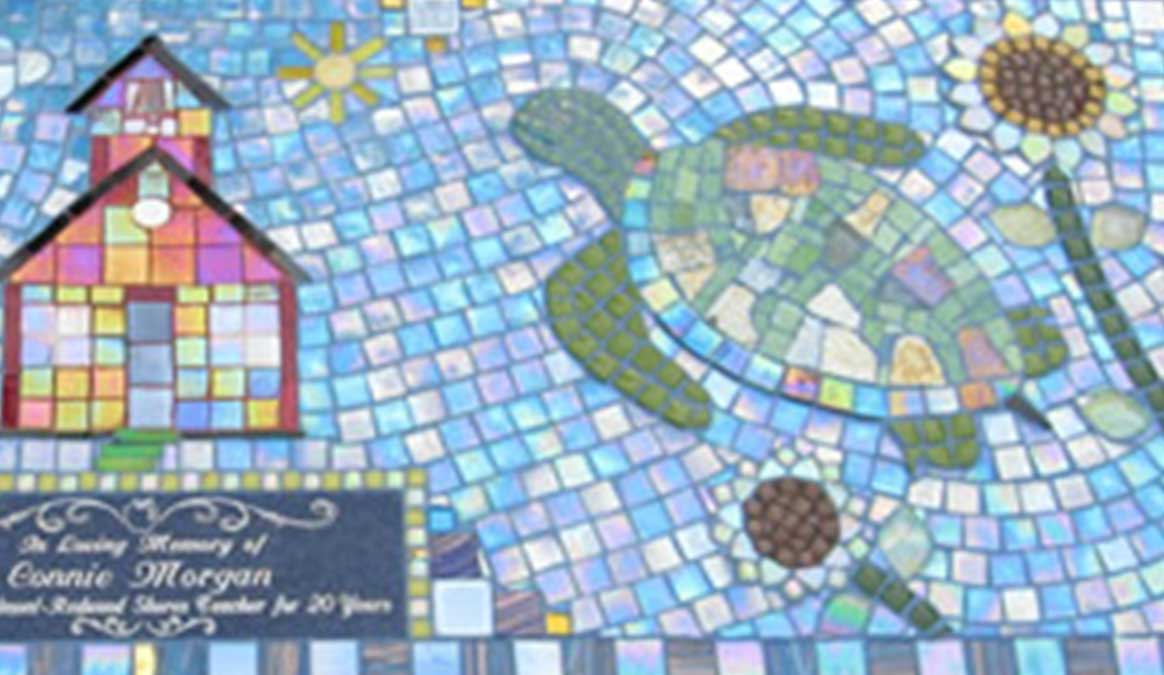 Mosaic Memorial Garden Bench of Connie's Favorite Things Turtle Closeup by Water's End Studio Artist Linda Solby