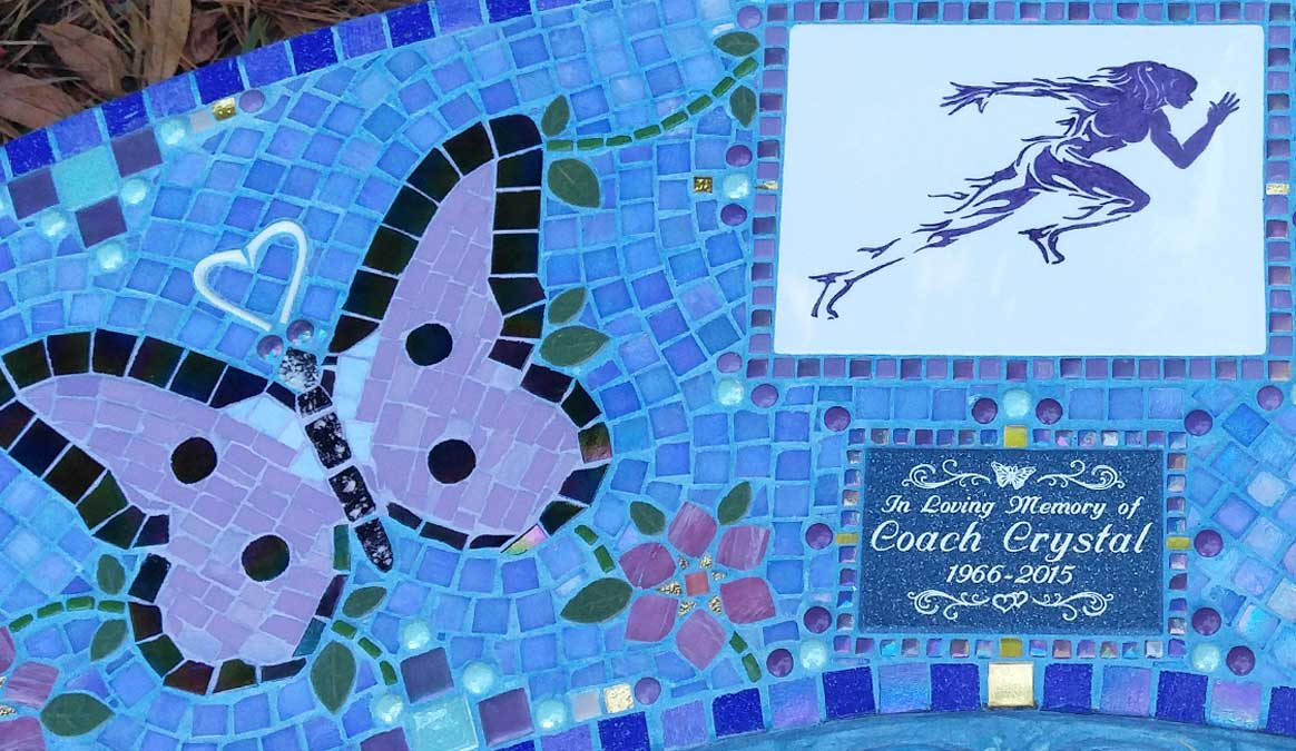 Mosaic Memorial Garden Bench of Crystal's Runner and Butterflies Closeup by Water's End Studio Artist Linda Solby