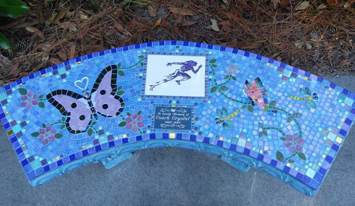 Mosaic Memorial Garden Bench of Crystal's Runner and Butterflies by Water's End Studio Artist Linda Solby