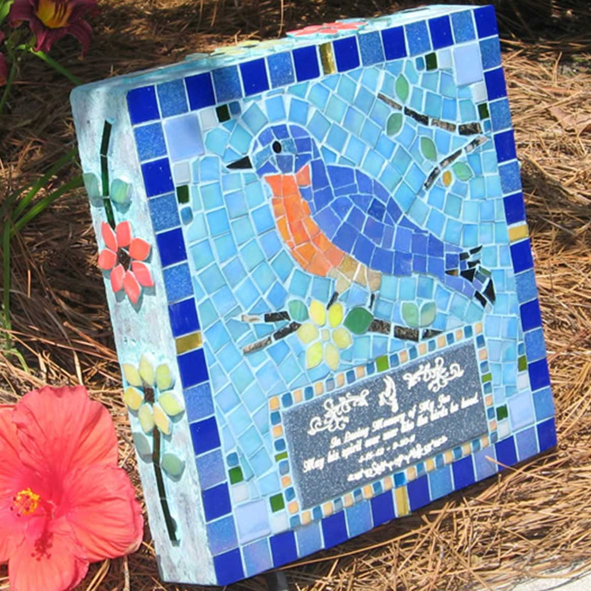 Mosaic Memorial Garden Art Stone of Dad's Bluebird by Water's End Studio Artist Linda Solby