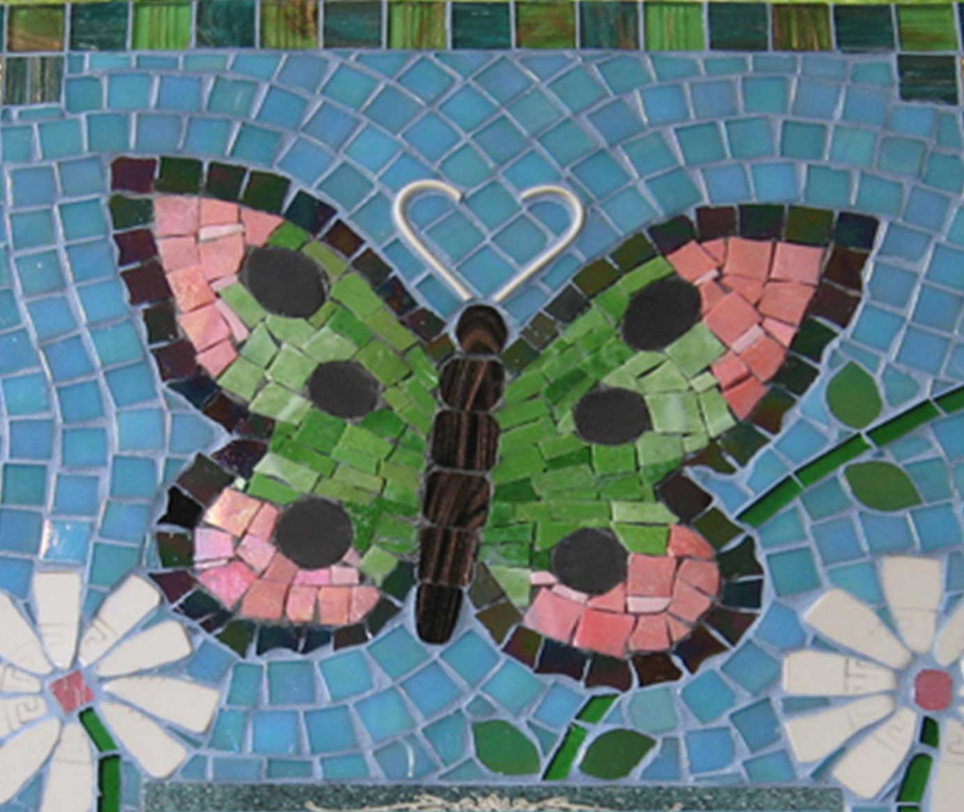 Mosaic Memorial Picture Plaque of Danielle's Butterfly Closeup by Water's End Studio Artist Linda Solby