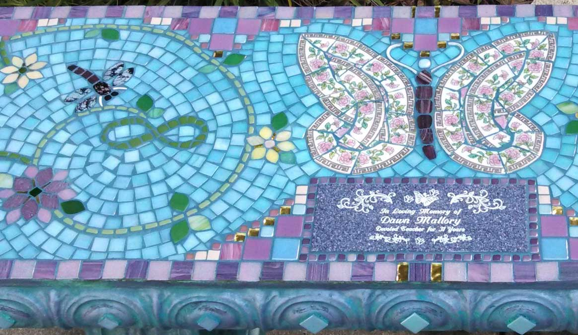Mosaic Memorial Garden Bench of Dawn's Butterfly Closeup by Water's End Studio Artist Linda Solby