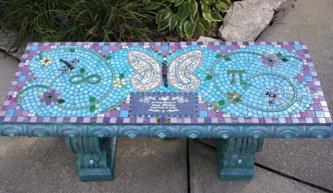 Mosaic Memorial Garden Bench of Dawn's Butterfly by Water's End Studio Artist Linda Solby