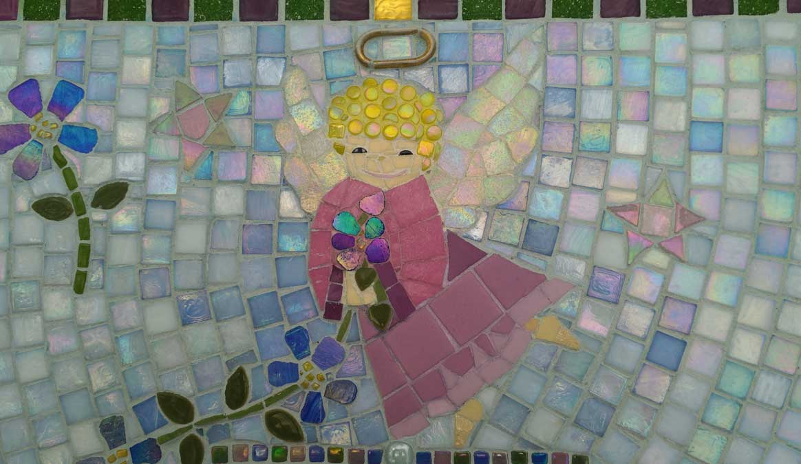 Mosaic Memorial Garden Bench of Debbie's Angel Closeup by Water's End Studio Artist Linda Solby