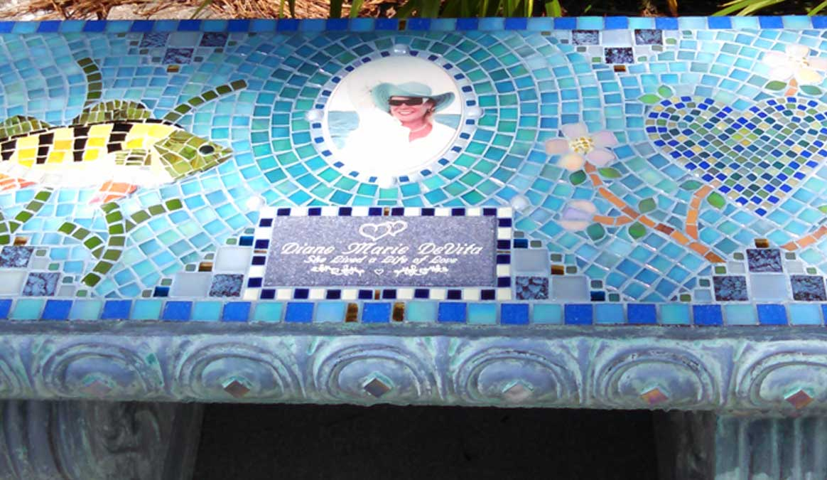 Mosaic Memorial Garden Bench with Portrait Tiles of Diane's Fish and Heart Closeup by Water's End Studio Artist Linda Solby