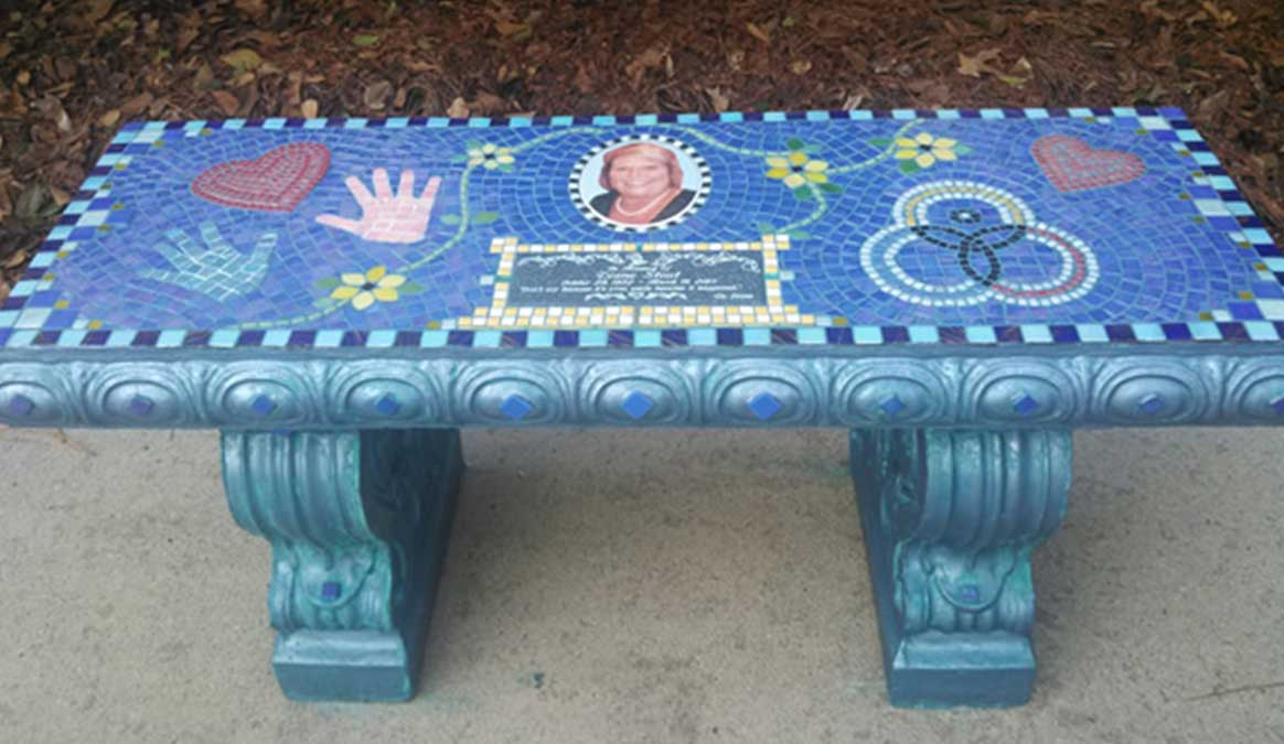 Mosaic Memorial Garden Bench with Portrait Tiles of Diane's Hands, Heart and Symbols by Water's End Studio Artist Linda Solby