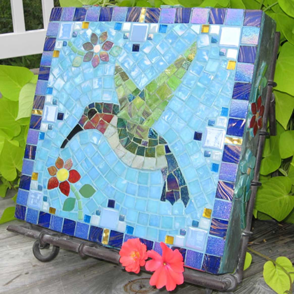 Mosaic Memorial Garden Art Stone of Dianne's Hummingbird by Water's End Studio Artist Linda Solby