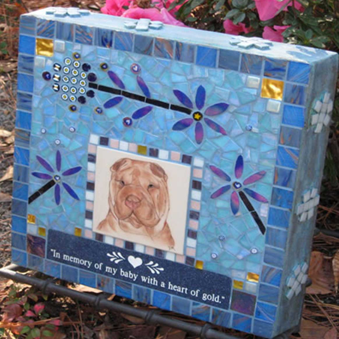 Mosaic Pet Portrait Memorial Stone of Dog with Flowers by Water's End Studio Artist Linda Solby