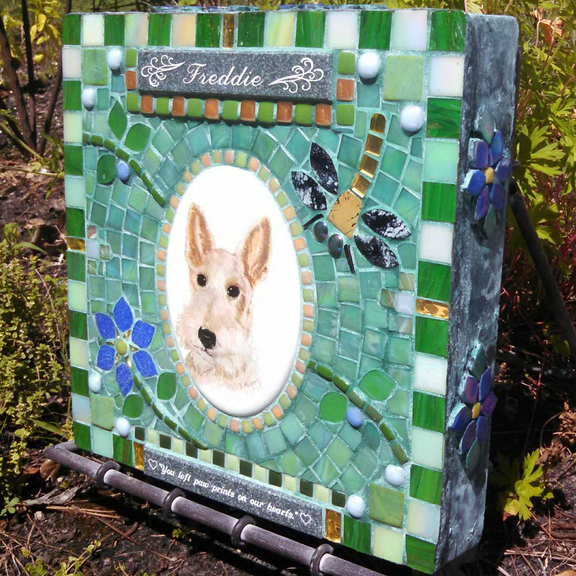 Mosaic Pet Portrait Memorial Stone of Dog Freddie's Dragonflies by Water's End Studio Artist Linda Solby