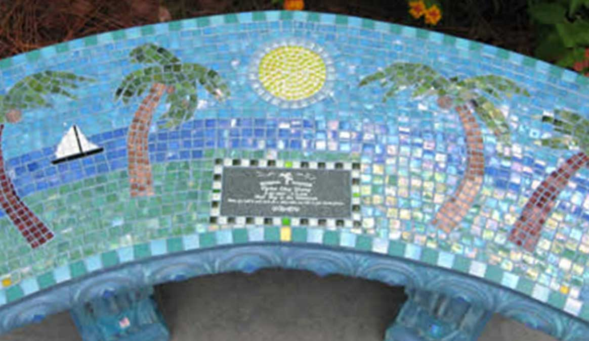 Mosaic Memorial Garden Bench of Dylan's Beach Closeup by Water's End Studio Artist Linda Solby