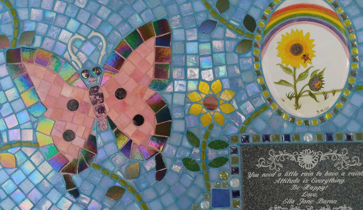 Mosaic Memorial Garden Bench of Ella's Ladybug Tile and Butterfly Closeup by Water's End Studio Artist Linda Solby