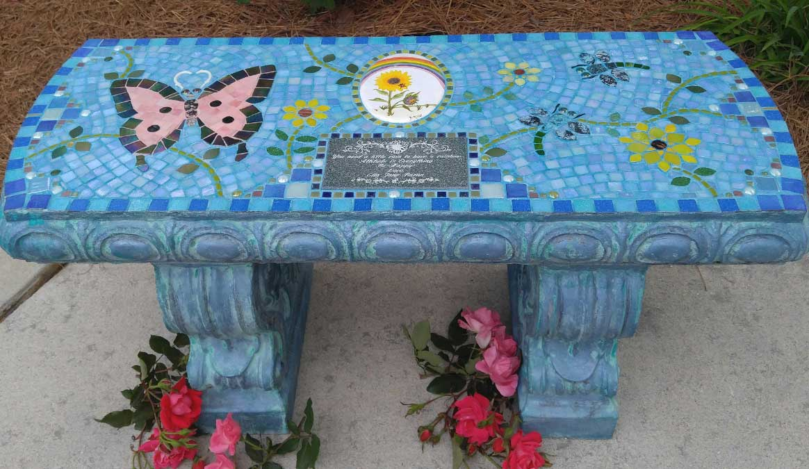 Mosaic Memorial Garden Bench of Ella's Ladybug Tile and Butterfly by Water's End Studio Artist Linda Solby