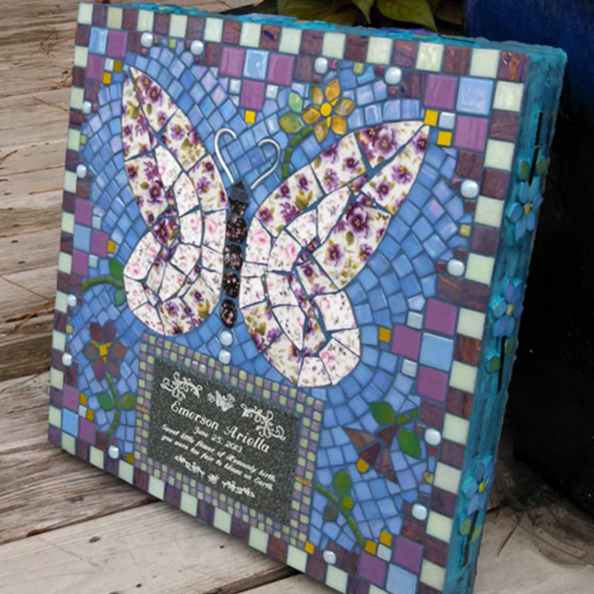 Mosaic Memorial Garden Art Stone of Emmy's Butterfly by Water's End Studio Artist Linda Solby