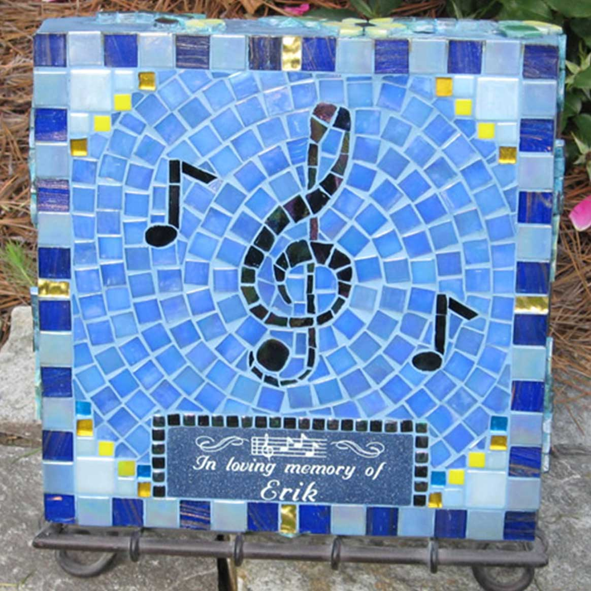 Mosaic Memorial Garden Art Stone of Erik's Treble Clef by Water's End Studio Artist Linda Solby