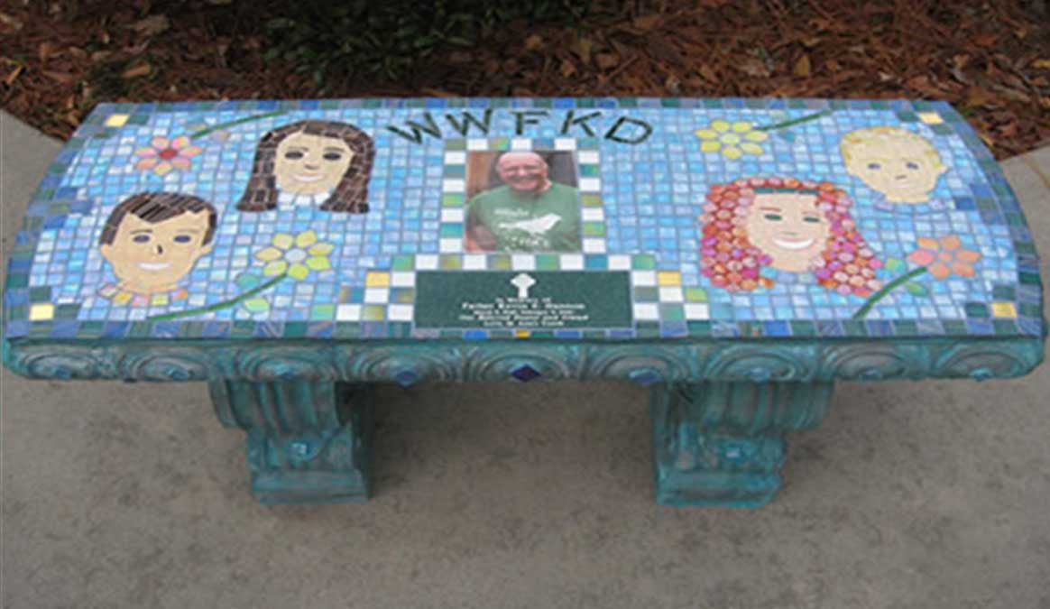 Mosaic Memorial Garden Bench with Portrait Tiles of Father Kevin Straight Bench with Children by Water's End Studio Artist Linda Solby