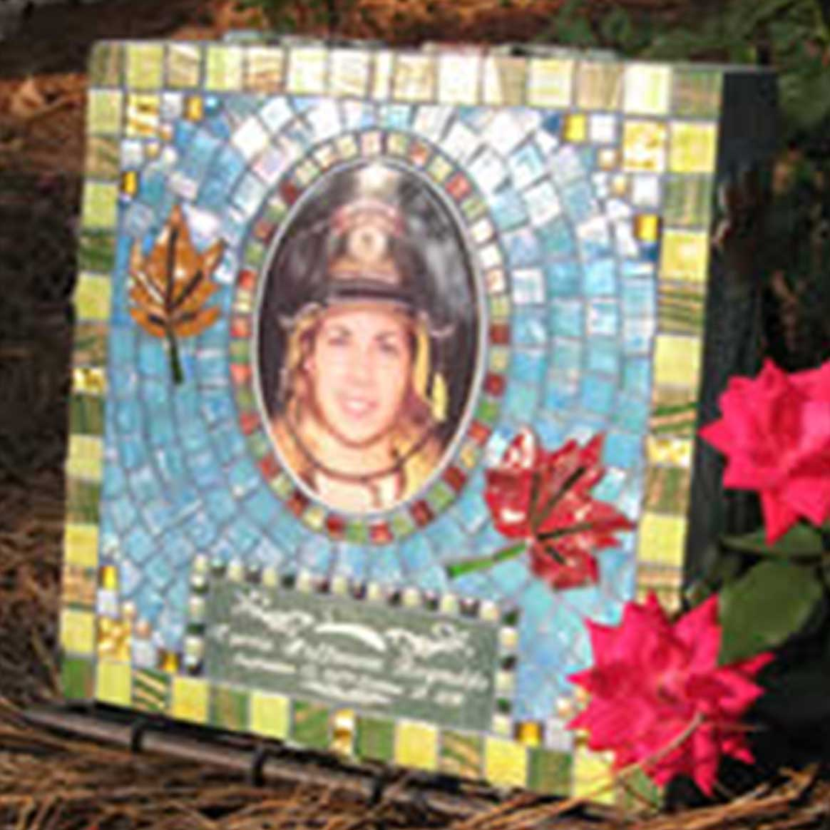 Mosaic Memorial Garden Art Stone of Firefighter by Water's End Studio Artist Linda Solby