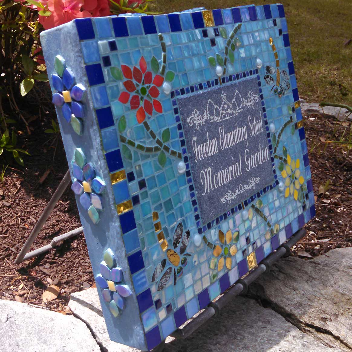 Mosaic Memorial Garden Art Stone of Freedom Elementary School Memorial Garden Sign by Water's End Studio Artist Linda Solby