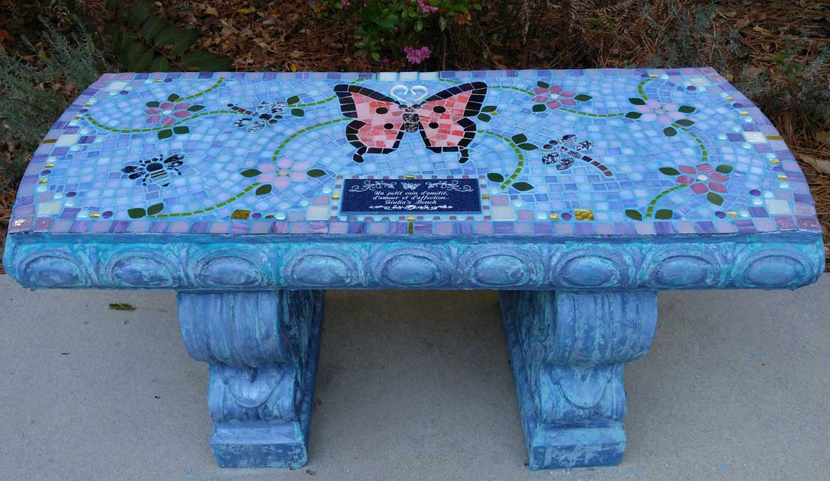 Mosaic Memorial Garden Bench of Giulia's Pink Butterfly by Water's End Studio Artist Linda Solby