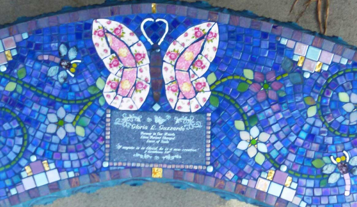 Mosaic Memorial Garden Bench of Ryan Gloria's Butterfly Closeup by Water's End Studio Artist Linda Solby